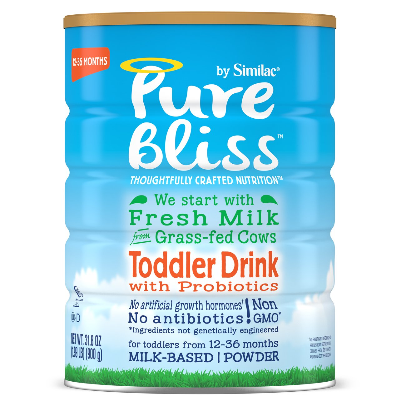 Pure Bliss by Similac Toddler Drink with Probiotics, Starts with Fresh Milk from Grass-Fed Cows, One Month Supply, 31.8 ounces (Pack of 4)