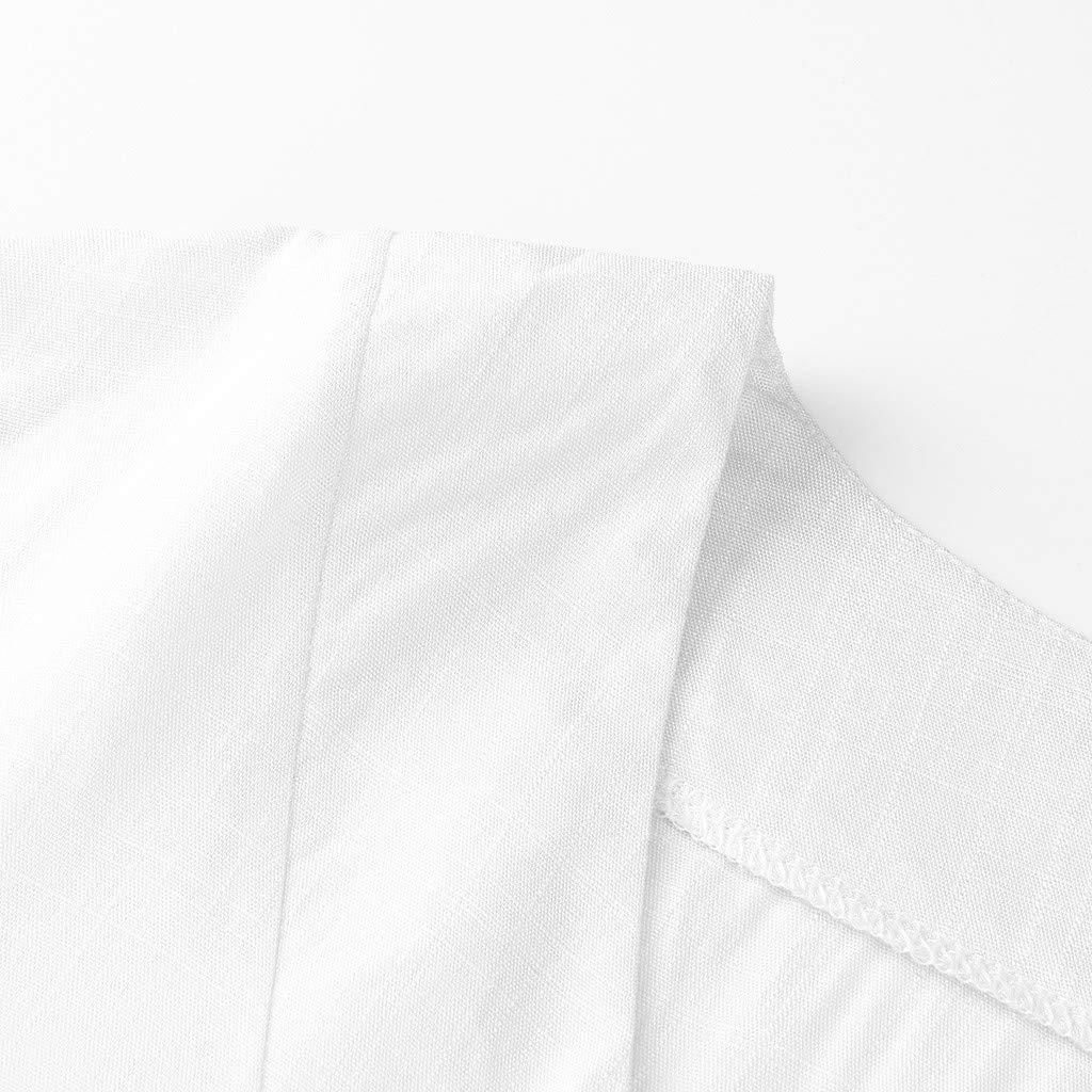 ❤AG/&T❤ Damenhemd Mode mit V-Ausschnitt aus festem Baumwollleinen-Sternausschnitt L/ässige Kleidung T-Shirts