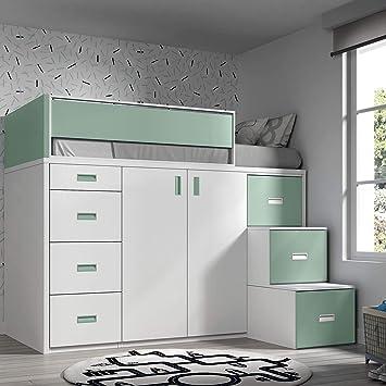 Möbel Ros Hochbett Mit Schrank Und Schubladen 165 X 204 X 165 Cm