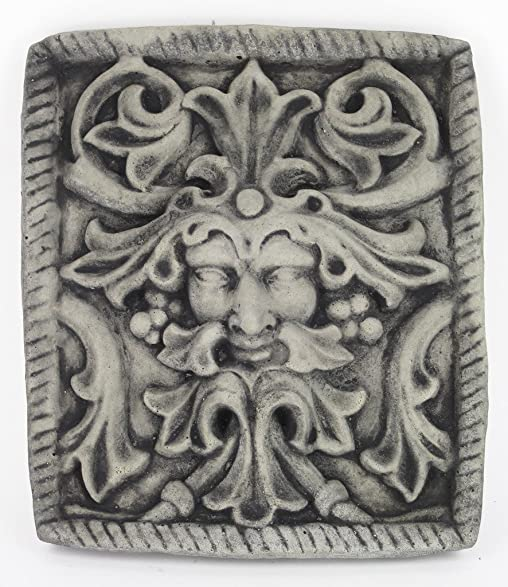 Green Man Concrete Wall Plaque European Medieval Sculpture Cement Figure  Cast Stone Figurine Wall Art Plaque