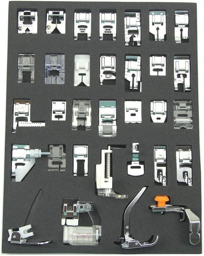 32pcs máquina de coser juego de pies prensatelas para Brother, Babylock, Nuevo Hogar, Janome, Elna, Toyata, Cantante, Elna, Simplicity, Necchi, New Home, Kenmore