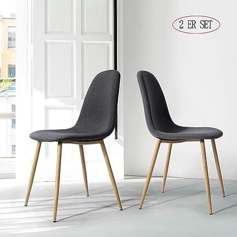 WarmCentre Set di 4 sedie da Pranzo Stile Tulip Moderne sedie Laterali  Eiffel con Cuscino in Ecopelle Imbottita in Legno Naturale Gambe, per Sala  da ...