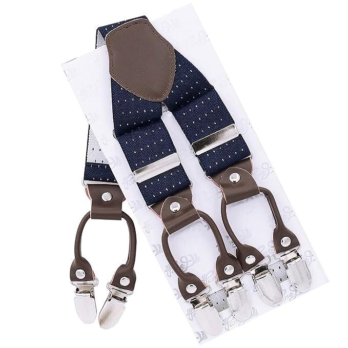 acdcd940f Panegy - Tirantes de Pantalones Elásticos Ajustable para hombre Y Forma  Ancho 3.5 cm Diseño del Punto de Onda Clásico con 6 Clips ...