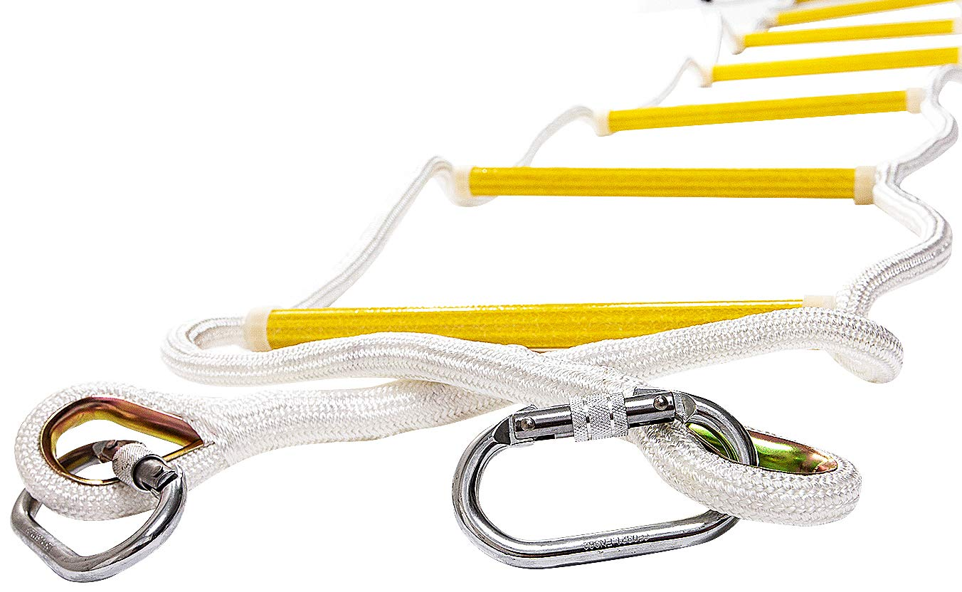 ISOP Emergency Fire Escape Extension Ladder 8-25 ft Flame Resistant Safety Rope Ladder with Hooks – Fast to Deploy & Easy to Use - Compact & Easy to Store - Weight Capacity up to 2000lb (8ft)