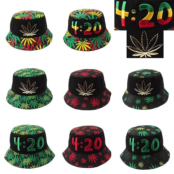 aa00e31ae0f3c Marijuana Weed Leaf Metal Patch Kush Logo Bucket Hat (Bk metal 420 ...