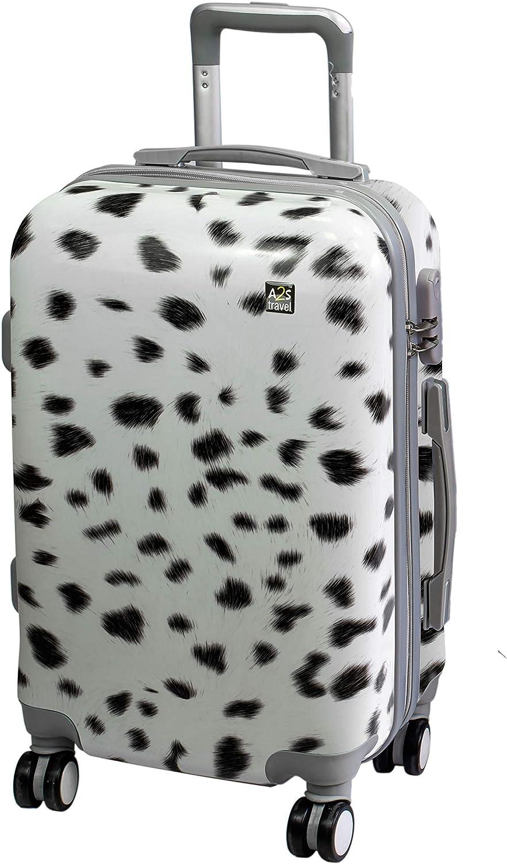 A2s Equipaje cabina maleta ligera y duradera maleta de cáscara dura con 8 ruedas giratorias llevar bolso (aviones) estampado animal blanco 55x35x20cm