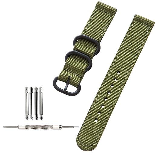 [ZHUGE] Correa de reloj NATO Bandas de reloj tejidas Ballistic Nylon Premium Reloj correas Hebilla gruesa de acero negro 18mm 20mm 22mm: Amazon.es: Relojes