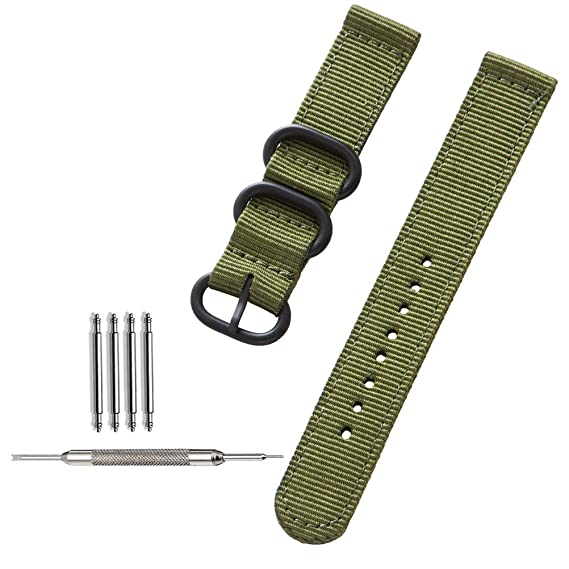 241460fc26a ZHUGE cinturini per orologi NATO ZULU intrecciati Cinturino da Orologio  Balistico Nylon con cinturino con fibbia in acciaio nero spesso 18mm 20mm  22mm  ...
