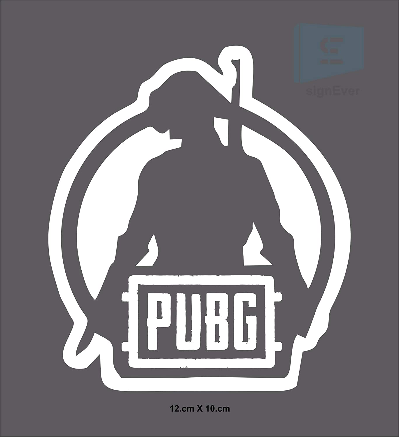 Sign ever pubg bike sticker for royal enfield classic 350 500 tank batterybox stylish boy white black decals l x h 12 00 x 10 00 cms pack of 2