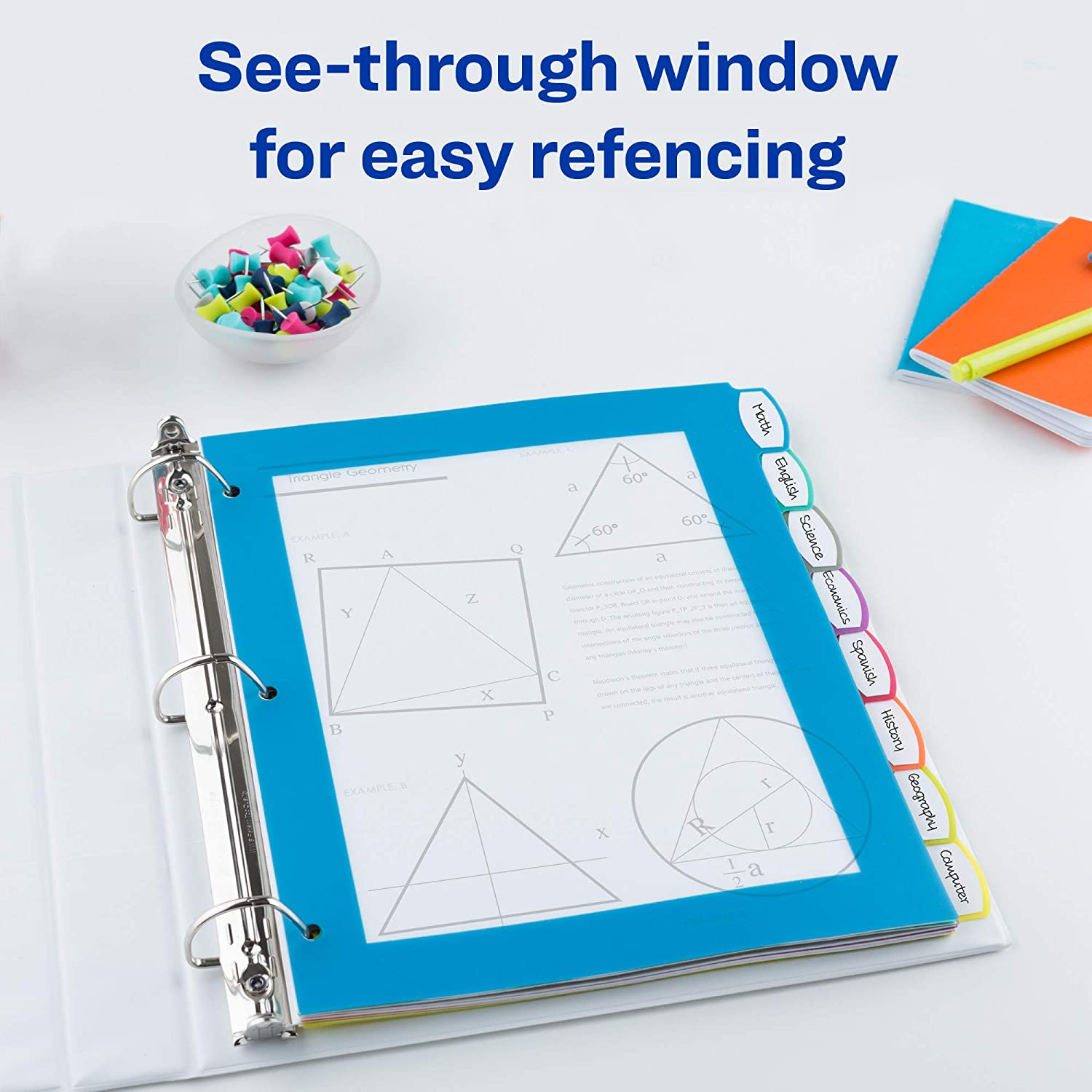 Avery 8-Tab Ultralast Plastic Binder Dividers, Multicolor Big Tabs, 1 Set (24901) : Office Products