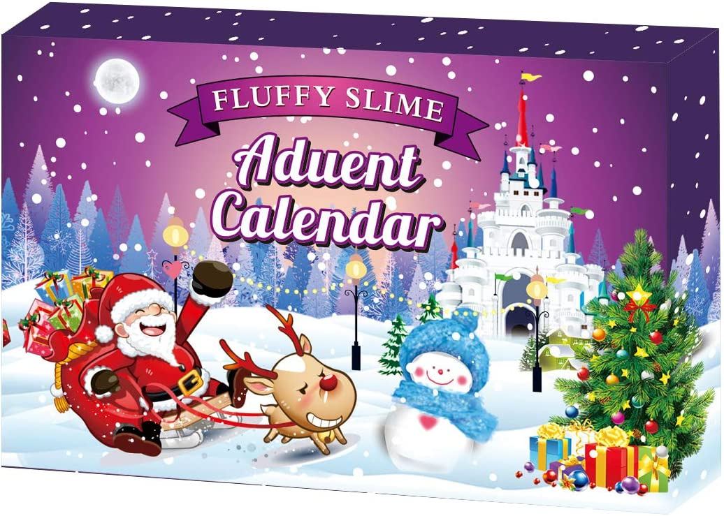 cxwind Christmas Advent Calender- Fluffy Slime Handicraft Kit- DIY 24 Days Countdown Surprise Discovery for Girls Kids