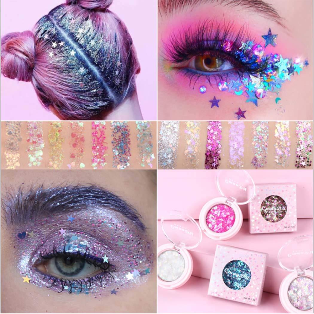 Kisshine Eyeshadows Star Fragment Eyeshadow Cream Shimmer Lozenge Body Glitter Highly Pigmented Eye Makeup Gift For Women and Girls Pack of 1 (Purple 06#)