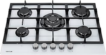 ae4ac62feeb0f5 Millar GH7051TW Plaques de cuisson en Verre trempé avec 5 brûleurs à gaz  Blanc 70 cm