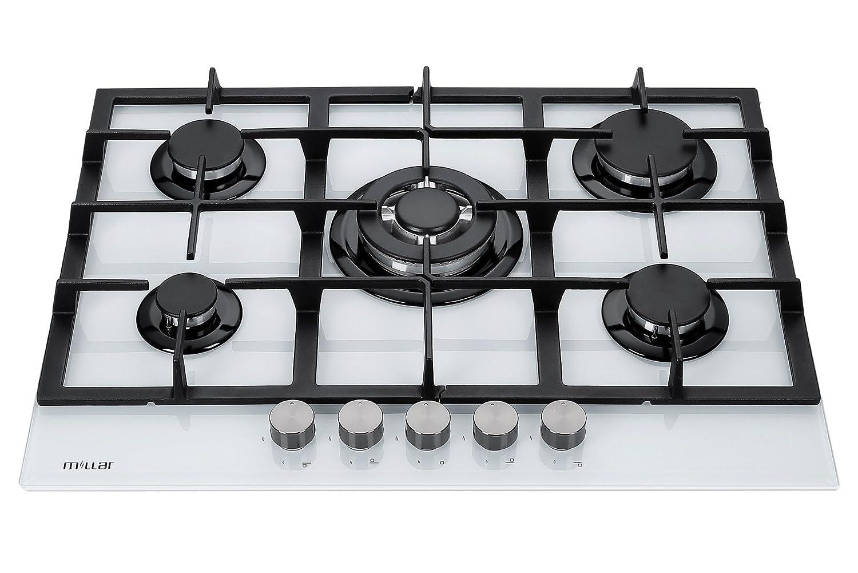 00090af9fbbfa7 Millar GH7051TW Plaques de cuisson en Verre trempé avec 5 brûleurs à gaz  Blanc 70 cm Table de Cuisson  Amazon.fr  Gros électroménager