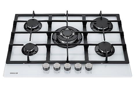 Millar GH7051TW Plaques de cuisson en Verre trempé avec 5 brûleurs à gaz  Blanc 70 cm bb0f5dd3768b
