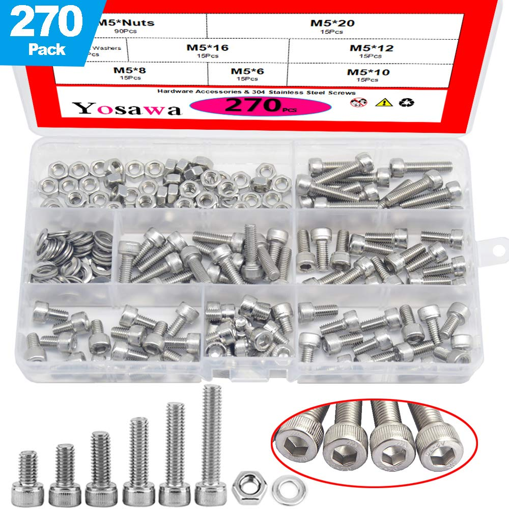 Yosawa M5 270 Pieces Stainless Steel Bolts Hex Socket Head Cap Screws Nuts Flat Washers Kit-ZM5