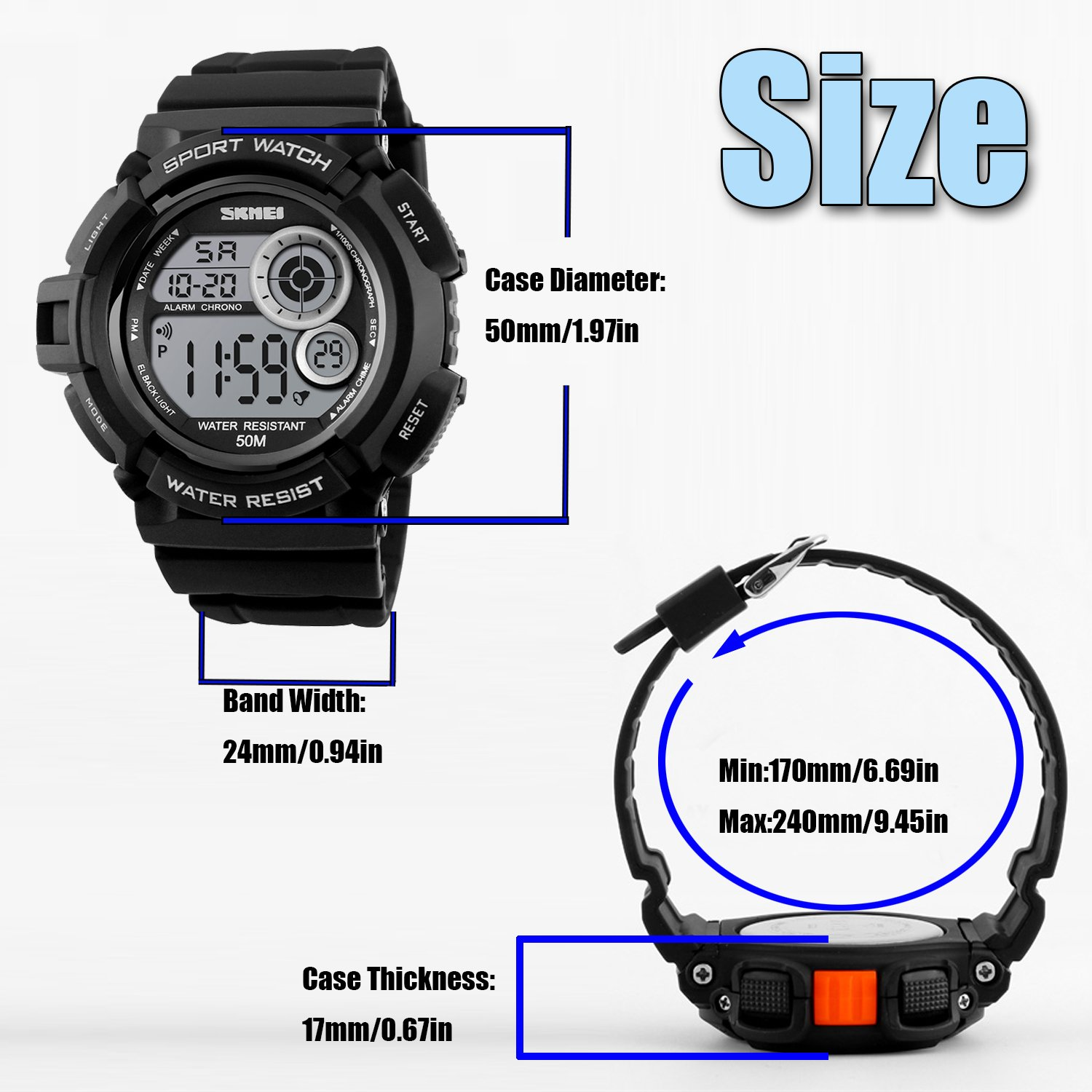 Men's Digital Sports Watch LED Screen Large Face Military Watches and Waterproof Casual Luminous Stopwatch Alarm Simple Army Watch Black by USWAT (Image #6)