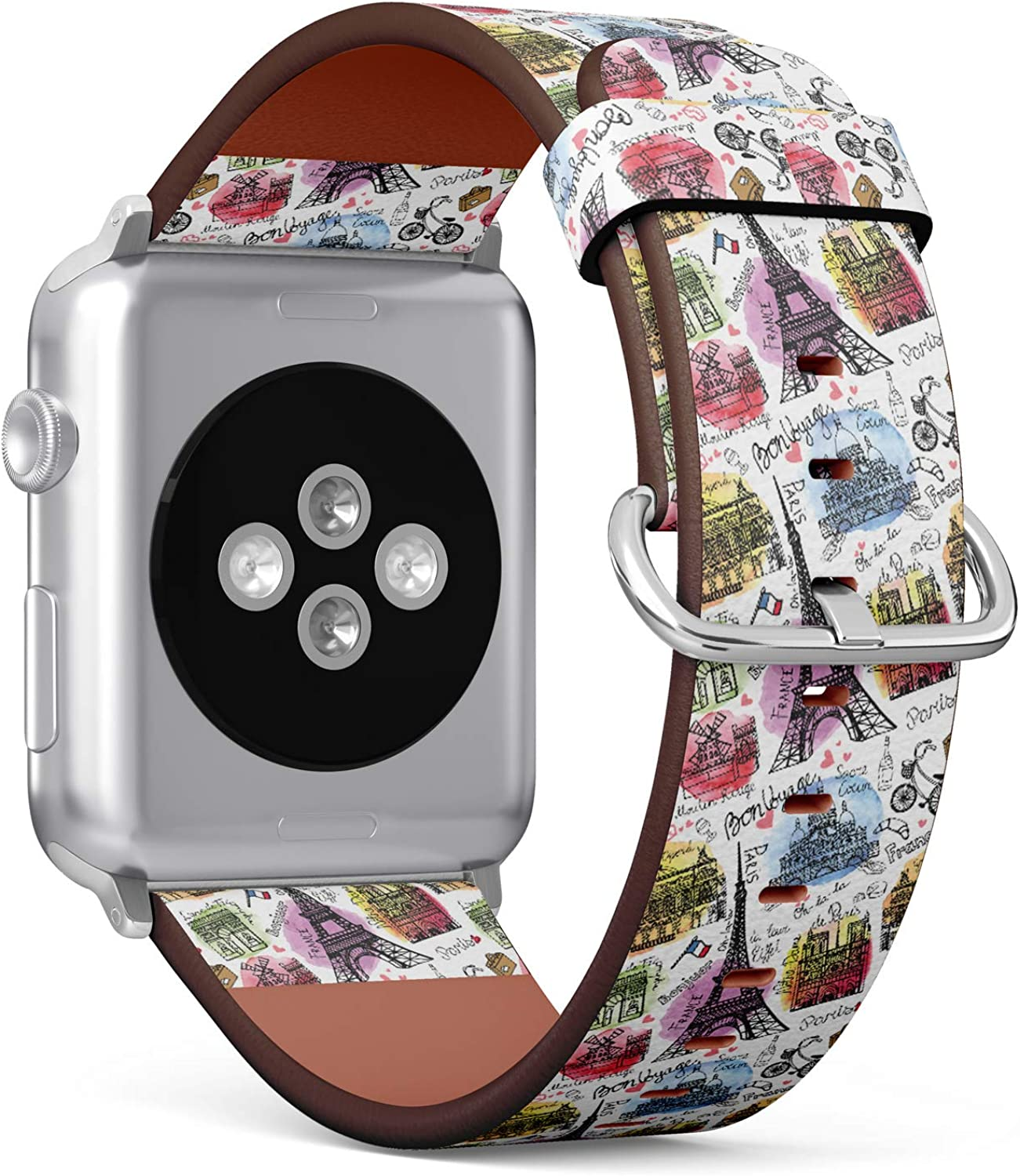 (Watercolor Vintage Doodle of Paris Landmark Notre Dame, Eiffel Tower) Patterned Leather Wristband Strap for Apple Watch Series 4/3/2/1 gen,Replacement for iWatch 42mm / 44mm Bands