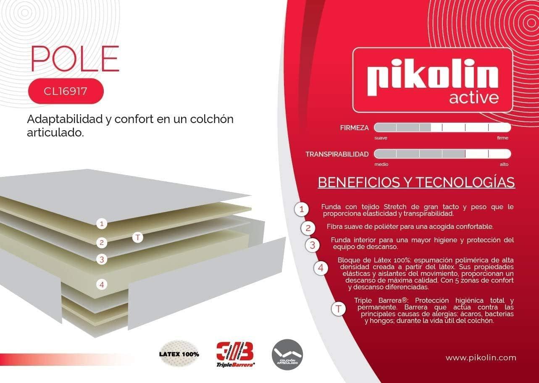 PIKOLIN – Colchón POLE (Látex 100 % - Compatible con ...