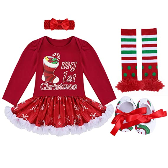 491c37f6f Newborn Baby Girls My First Christmas Outfit Tutu Dress Costumes Long Sleeve  Romper Bodysuit + Bow