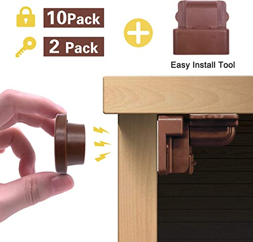 Baby Safety Magnetic Cabinet Locks Invisible Child Proof Cupboard Drawer Kit Set