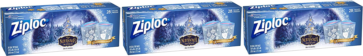 Ziploc Freezer Bag, 1 Gallon, 28 Count, Pack of 3- Featuring designs from Disney's The Nutcracker and The Four Realms, Limited Edition