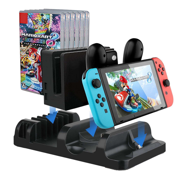 IVSO Nintendo Joy-con Charging Dock Cargador Compacto con Puerto de Carga Type-C Multi-Funcional Soporte de Carga para Nintendo Switch Consola con ...