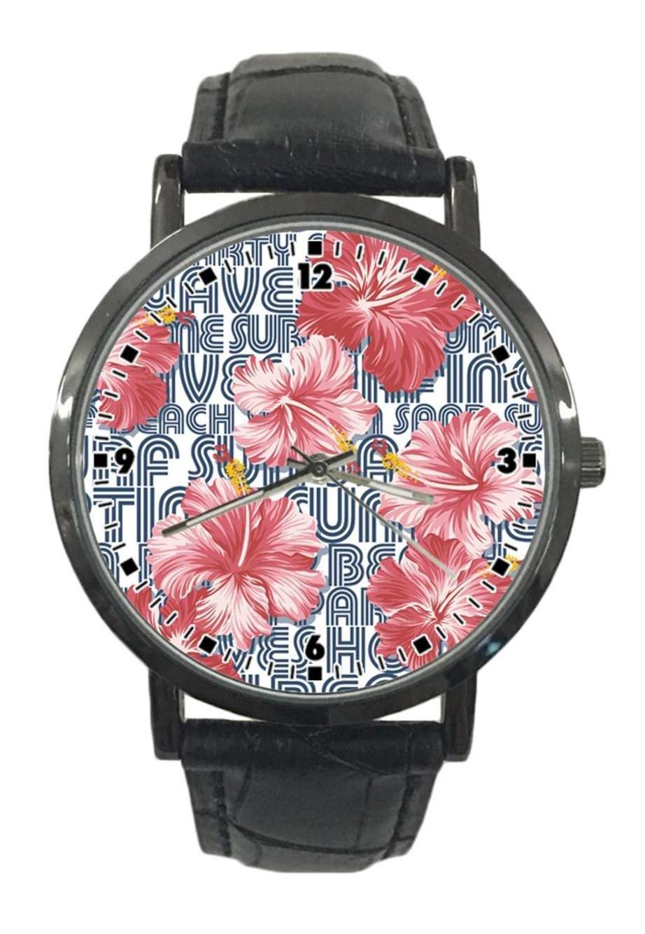 jkfgweeryhrt New Simple Fashion Tropical Flowers Stainless Steel Leather Analog Quartz Sport Wrist Watch