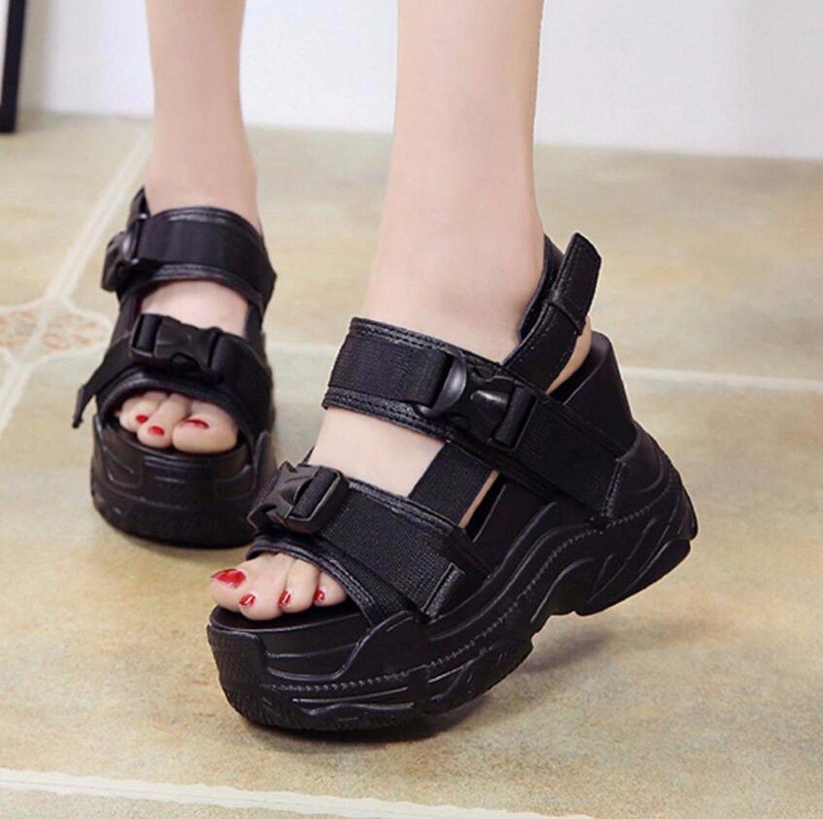 GTVERNH Damenschuhe Sandalen Sommer Joker Flache Schuhe Zusammenbrach