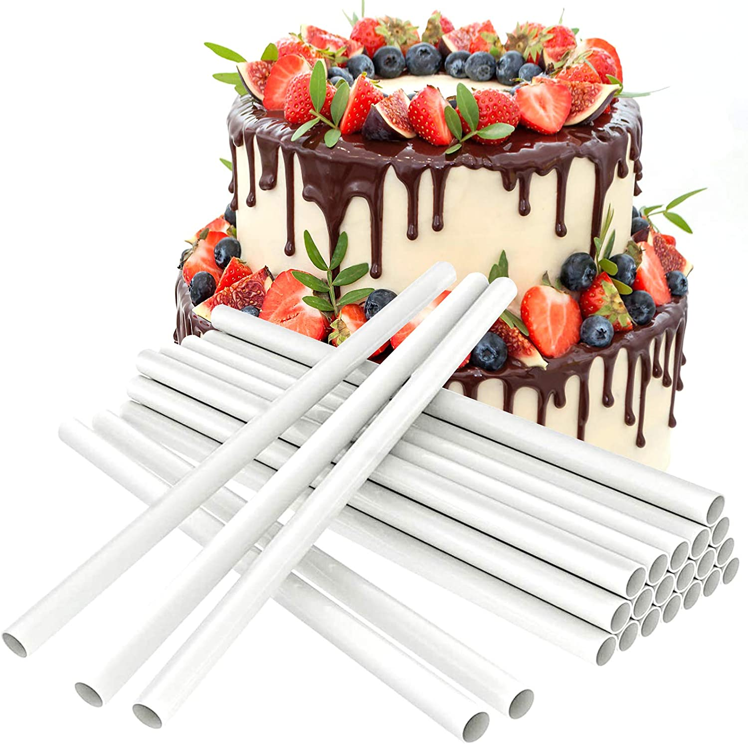 24 PCS Plastic White Cake Dowels Thickened Resuable Support Sticks for Tiered Cakes Stacking(9.5 inch length)