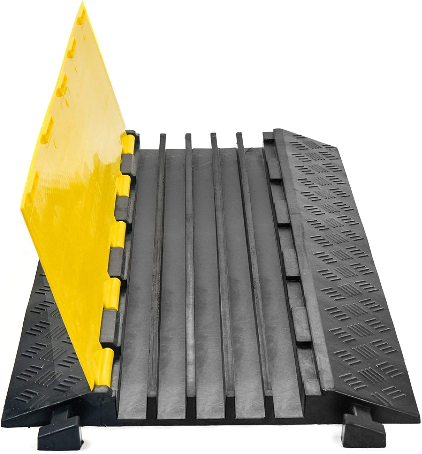 Scinotec Rubber Cable Protector Ramps 1 Pack of 5 Channel Heavy Duty Wire Cord Ramps 18000lbs Load Capacity Traffic Speed Bumps for Asphalt Concrete Gravel Driveway