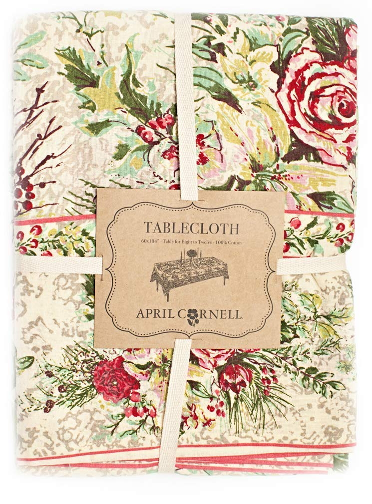 April Cornell ac-120n12 Merry Christmas Floral Holiday Set 120 x 60 Tablecloth & 12 Dinner Napkins Holiday Ivory Red Green
