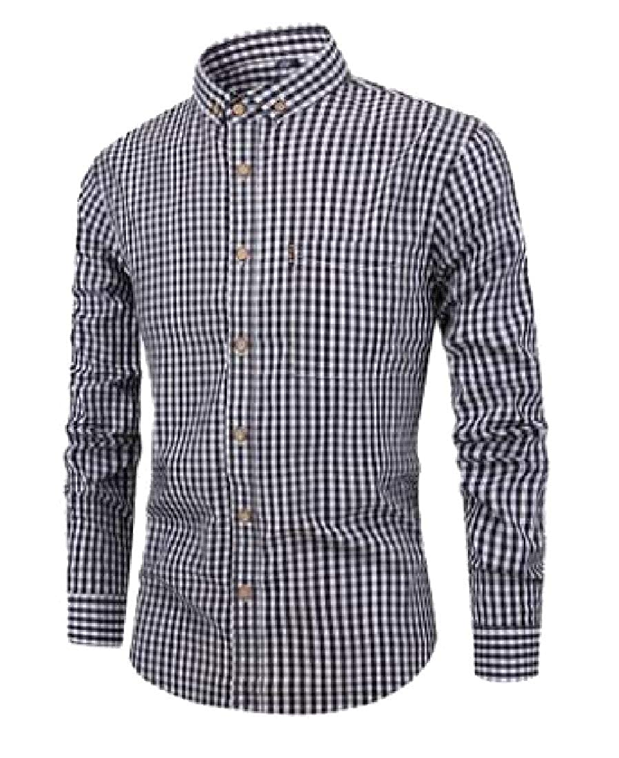 WSPLYSPJY Mens Shirt Plaid Fashion Lapel Long Sleeve Button Down Shirt