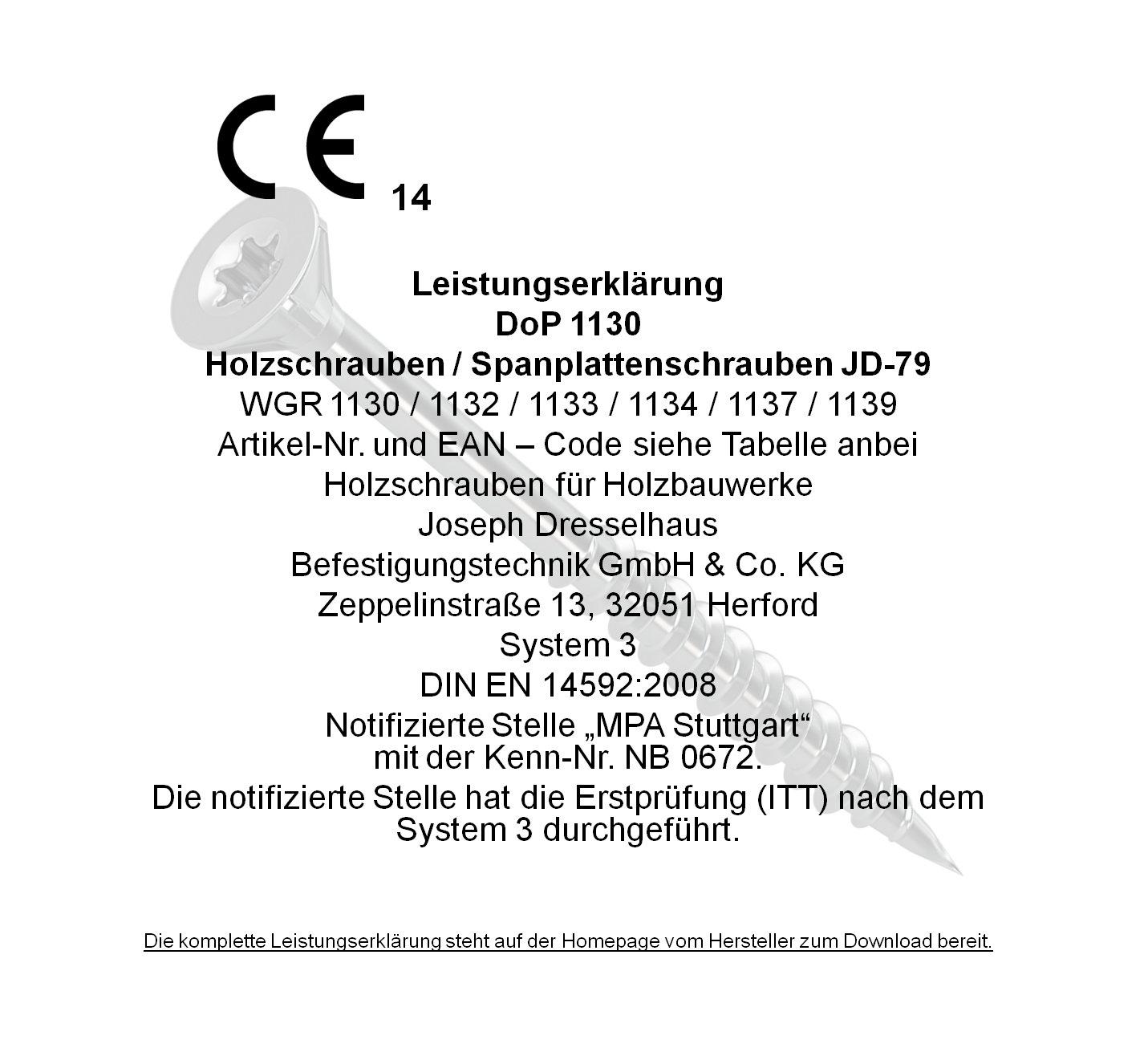 Dresselhaus JD-79 1137 Vis de fixation panneaux de bois /à /étoile en I 3,5 x 45 mm- 1000 Pi/èces jaune filetage et nervures de fraise sous la t/ête galvanis/é- chrom/é t/ête frais/ée