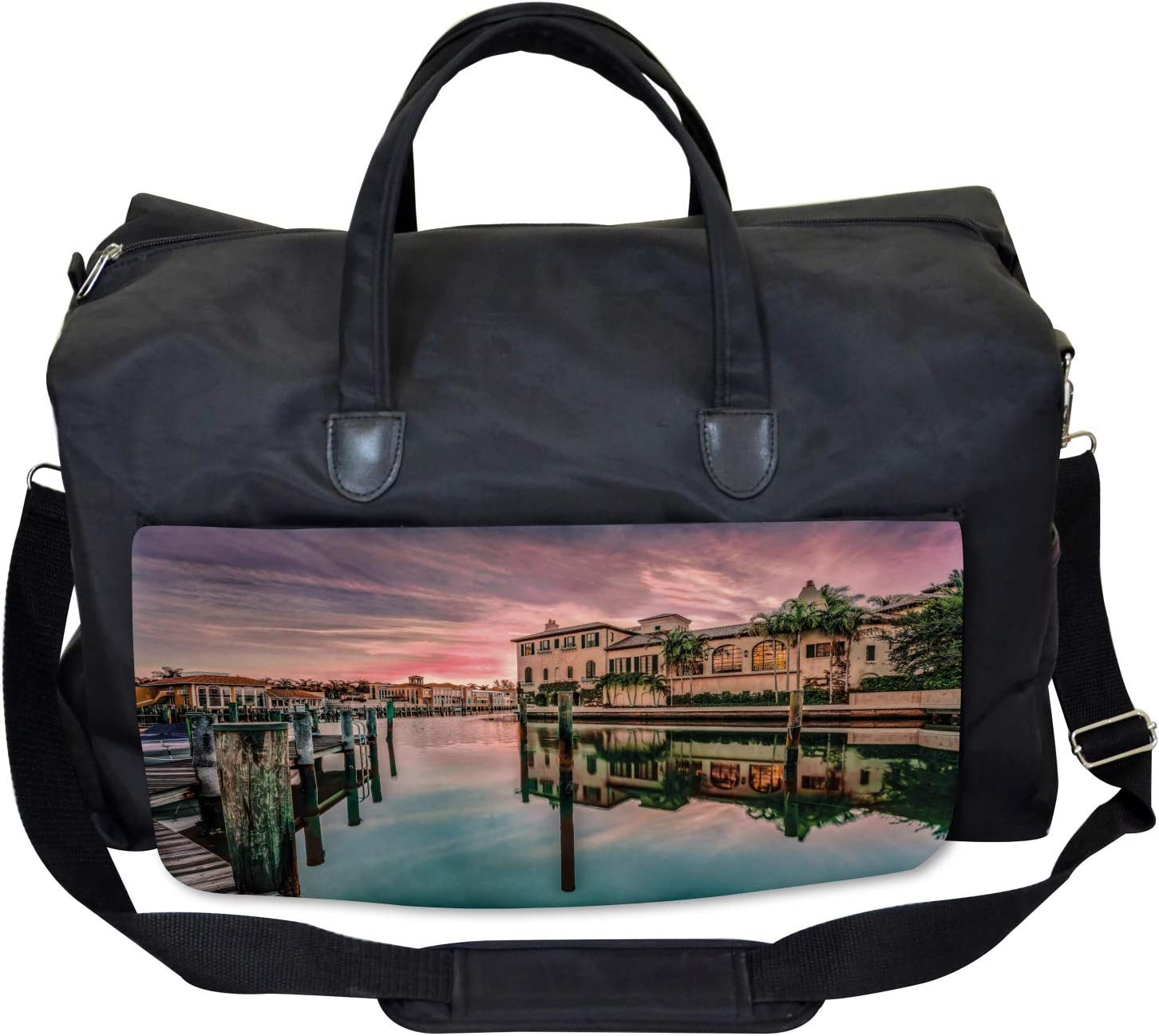Large Weekender Carry-on Ambesonne Nature Gym Bag Sunrise River Nautical