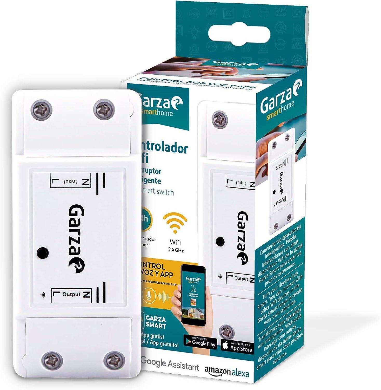 Garza Smarthome - Smart Switch Interruptor inteligente Wifi Integrado, compatibles con Alexa, iOS y Google Home, control remoto y programable controlable a través de App y voz