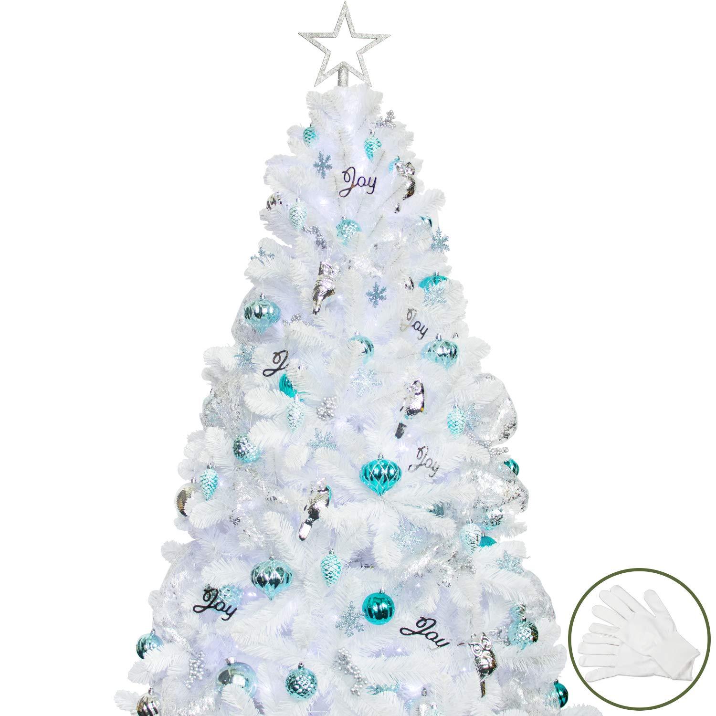 White Christmas Tree Decorating Ideas.Ki Store Artificial White Christmas Tree With Decoration Ornaments Blue And White Christmas Decorations Including 6 Feet Full Christmas Tree 135pcs
