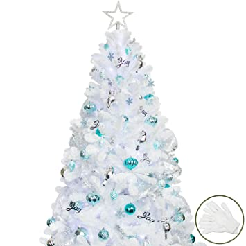 White Christmas Tree With Blue Lights.Ki Store Artificial White Christmas Tree With Decoration Ornaments Blue And White Christmas Decorations Including 6 Feet Full Christmas Tree 135pcs
