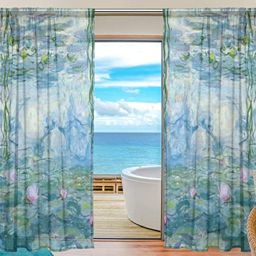 AHOMY Sheer Panel Curtains 55″x84″ Water Lilies