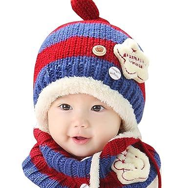 bfc319e3f316 AnKoee Casquette Bonnet et écharpe Bébé Hiver Chapeaux Enfants Chaud Chapeau  De Bonnet Tricoté (Bleu - Rouge)  Amazon.fr  Vêtements et accessoires