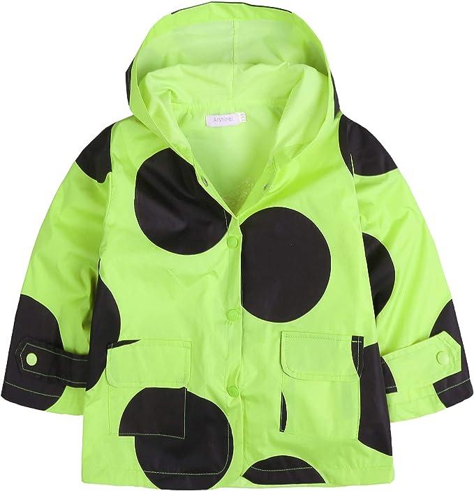 Arshiner Kid Girls Boys Casual Lightwight Rainjacket Waterproof Raincoat with Hooded