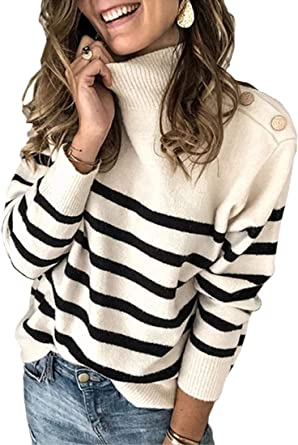 Amazon.com: Angashion Women's Sweaters Casual Long Sleeve Crewneck Color  Block Patchwork Pullover Knit Sweater Tops: Clothing