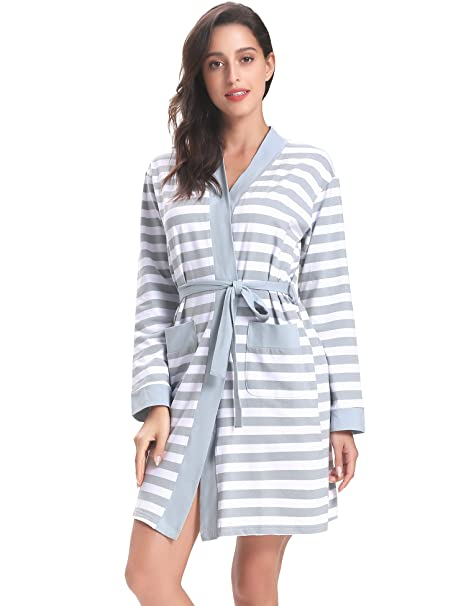 Aibrou Bata Kimono Mujer Invierno Algodón de Rayas Pijama Manga Largas Albornoz Ropa de Dormir con