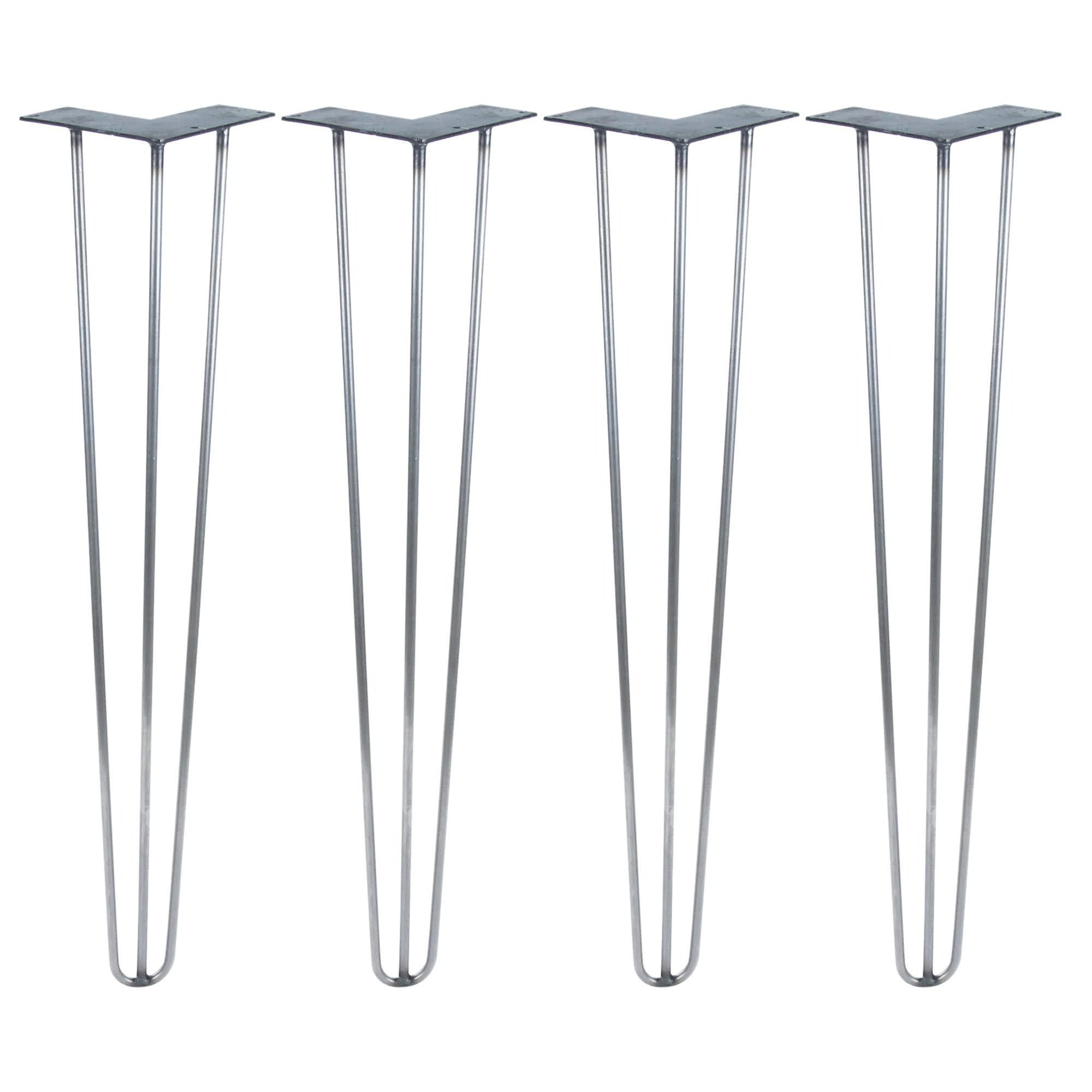 Hairpin Legs Set of 4 - Cold Rolled Steel - Raw and Color Available - Made in The USA (30'' Tall, 1/2'' Diameter - Raw Steel- Shipped as Set of 4 Legs)