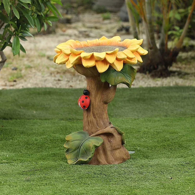 HowLoo Bird Feeder Polyresin Sunflower Bird Bath Indoor Outdoor Decorative Ornaments Bird Feeder Outdoor Garden Bird Bath Ornament with Yard Lawn Decoration Bird Baths for Outdoors Decorations (Multi)
