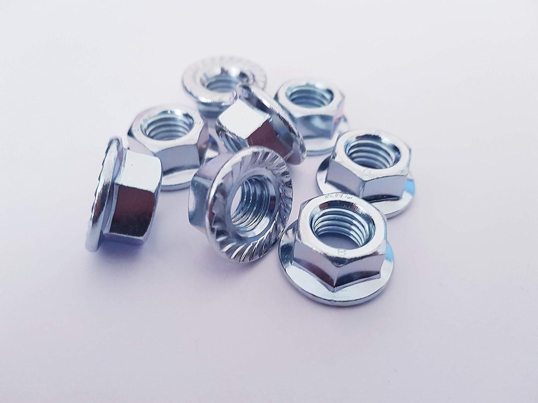 Lot de 20 /écrous /à bride dentel/ée M8 plaqu/é zinc