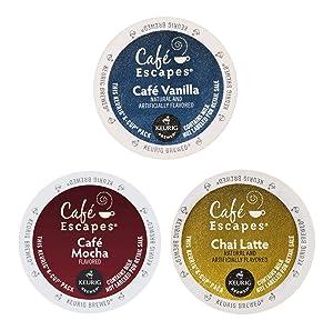 Café Escapes Coffee K-Cups Variety Pack - 3 Flavors - Café Vanilla (12 Ct X 0.49 Oz) + Café Mocha (12 Ct X 0.52 Oz) + Chai Latte (12 Ct X 0.49 Oz ) - 36 Single Serving Pods For All Keurig Brewers