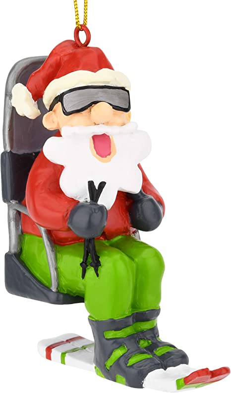 Amazon Com Tree Buddees Snow Skiing Santa On A Chairlift Christmas Ornaments Home Kitchen