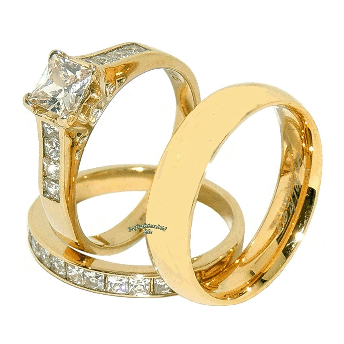 3 PCS Stainless Steel His Flat Band //Hers Princess Cut CZ Engagement Ring Set