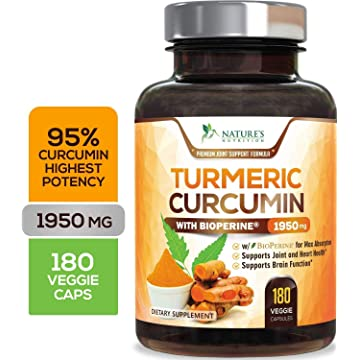 powerful Turmeric Curcumin Max Potency 95% Curcuminoids 1950mg with Bioperine Black Pepper for Best Absorption